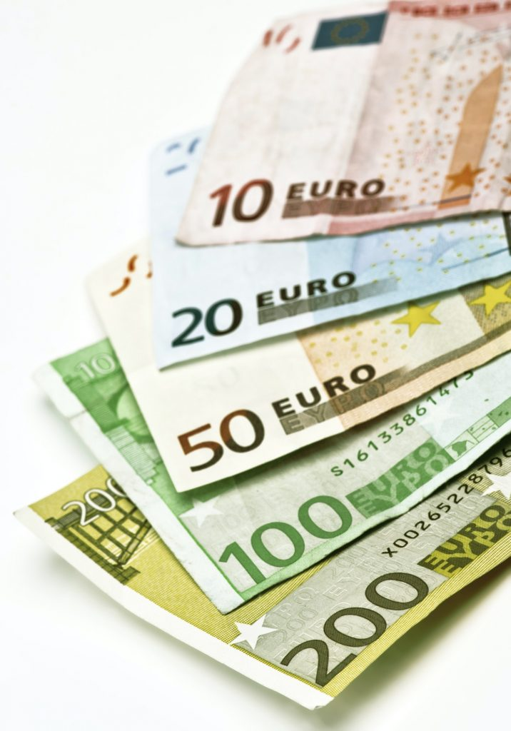 used euro banknotes of several values